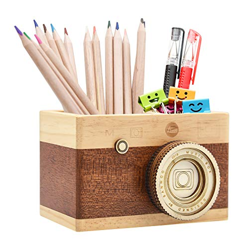 Zakka Camera Wooden Pencil Holder Desktop Pencil Holder Vintage Camera Decor Stationary Makeup Organizer Holder for Office Home, Great Christmas Gift for Photographers and Students (Long)