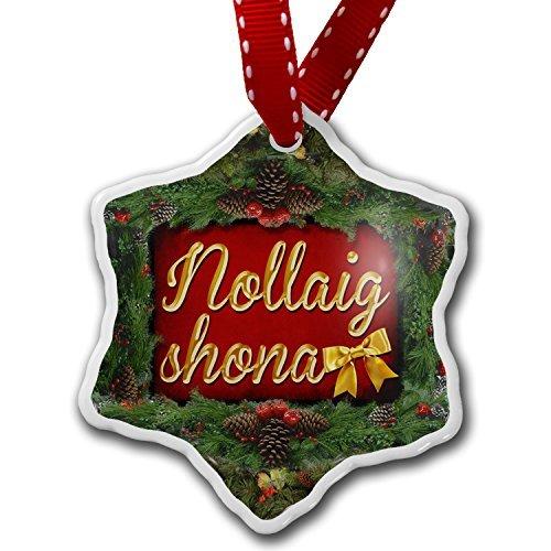 Adornos colgantes de cerámica con forma de corazón, feliz Navidad en gaélico irlandés de Irlanda, divertidas decoraciones de árbol de Navidad y regalo