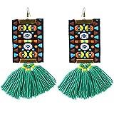 YAZILIND Frauen Boho Tropfen Baumeln Vintage Ohrringe Gewinde Quaste Bunte Tuch Muster Haken Ohrringe Ethnische Retro Schmuck Grün