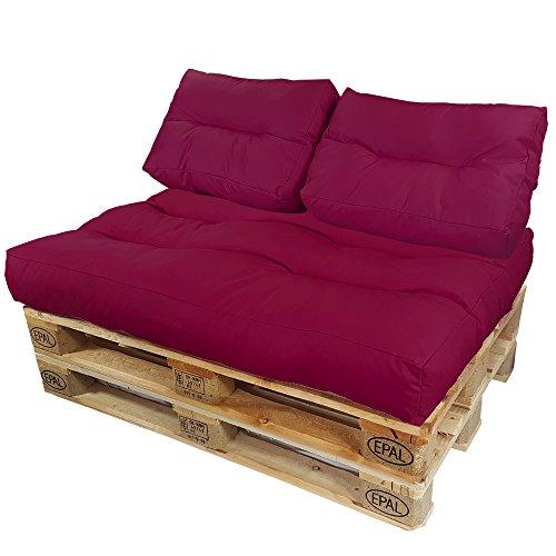 DILUMA Coussins pour Canape Euro Palette Lounge - Créez Un élégant Sofa en Palette résistante aux éclaboussures (Pas Un Ensemble!), Couleur:Baie, Variable:2 Coussins de Dossier 60 x 40 cm