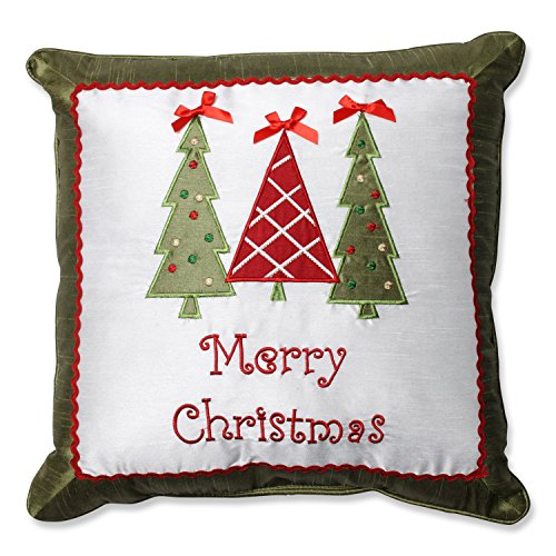 Pillow Perfect Throw Pillow, Christmas Trees, Green/Red