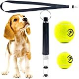 Dog Whistle Ultrasonic Adjustable Frequency - Silent Dogs Puppy Training Tool Whistle Pack with Lanyard Black and 2 Tennis Playing Balls Toy Small Medium Sizes for Stop Barking Control Pet Trainer