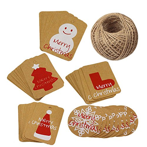 Christmas Tags,Merry Christmas Tags,100Pcs Kraft Paper Gift Tags with 100 Feet Jute Twine String for Christmas Party Decoration