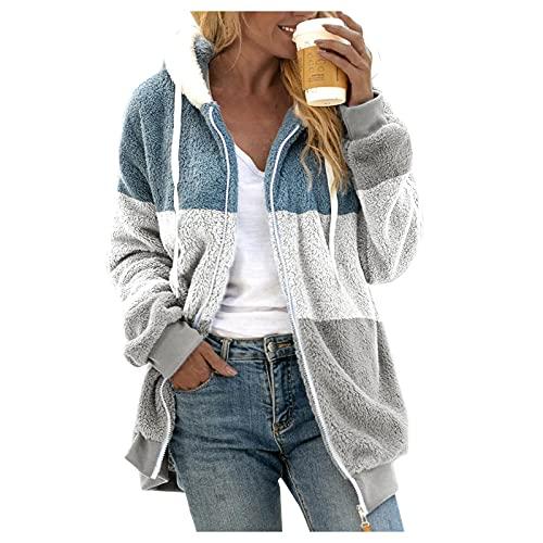 haoricu Women's Open Front Stripe Stitching Pocket Hooded Sweatershirt Faux Fur Warm Winter Outwear Gray