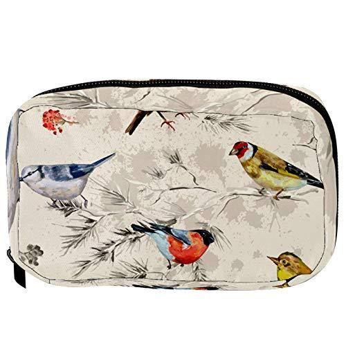 Pequeña bolsa de cosméticos para bolso, bolsa de maquillaje, bolsa de cosméticos, bolsa de viaje, neceser de viaje, neceser para lápices, monedero con cremallera, vintage, retro, pájaros, flores