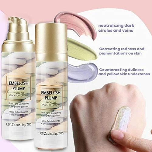 Rainbow Tricolor Makeup Base Foundation,One Step Tri-Color Isolation Cream for Full Coverage Brighten Skin Primer Long Lasting