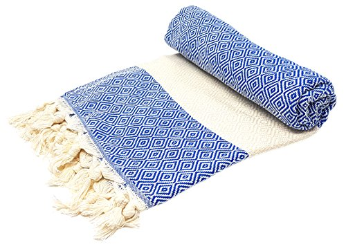 Stefano Ferrante ELMAS Hamamtuch Saunatuch Pestemal Fouta Strandtuch Badetuch Handtuch Baumwolle Backpacker 100x180 cm (Blau)