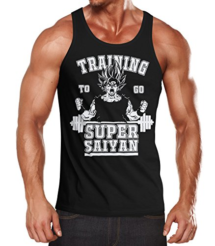 MoonWorks Herren Tanktop, Son Goku Super Saiyajin Saiyan, Training Gym Fitness Muskelshirt schwarz M