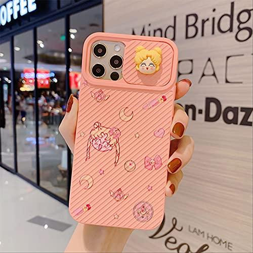 Deslice la protección de la Lente de la cámara Estuche para teléfono Sailor Moon para iPhone 12 XR XS MAX 7 8 Plus Carcasa Trasera con Marco Suave para iPhone 11 para iPhone XR Estilo 1