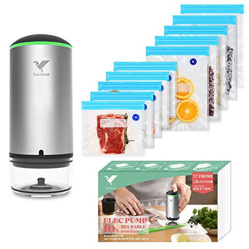 Food Vacuum Sealer, Vacbird Portable Vacuum Sealer Machine with Sous Vide Bags 10 Pack Reusable Food Storage Bags for Food Storage & Sous Vide Cooking