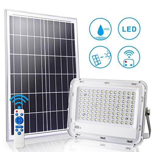LEDMO Solar LED Fluter Flutlicht 100W mit Fernbedienung 10M,LED Strahler 6500K IP65 Wasserdicht,Smart ein/aus,100leds Super hell Außenstrahler Beleuchtungsfläche beträgt ca. 100m²