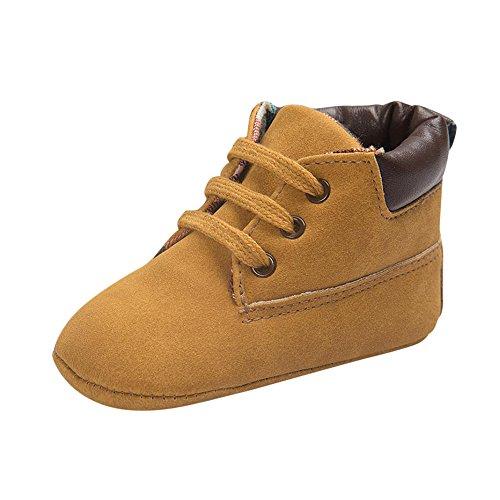LuckyGirls Chaussures Fond Souple Antidérapant de Bébé Unisexe Bébé Suède Chaussons en Cuir Doux Chaussures bébé Mokassin chausseres Premiers Pas - Cuir - Souple 0~18 Mois (Âge: 0~6 Mois, Kaki)