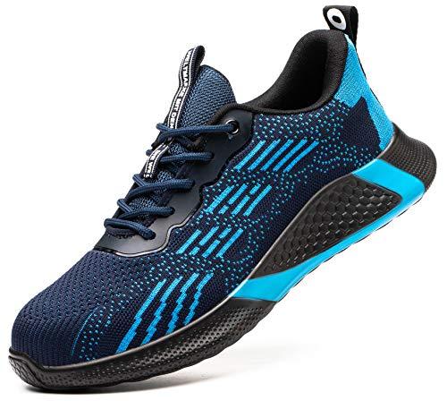 SUADEX おしゃれ 軽量 あんぜん靴 安全靴 安全スニ一カ一 作業靴 ブルー 工事現場作業靴 通気性 鋼先芯 耐摩耗 防刺 耐滑ソール アウトドア ワークシューズ セーフティーシューズ スニーカー