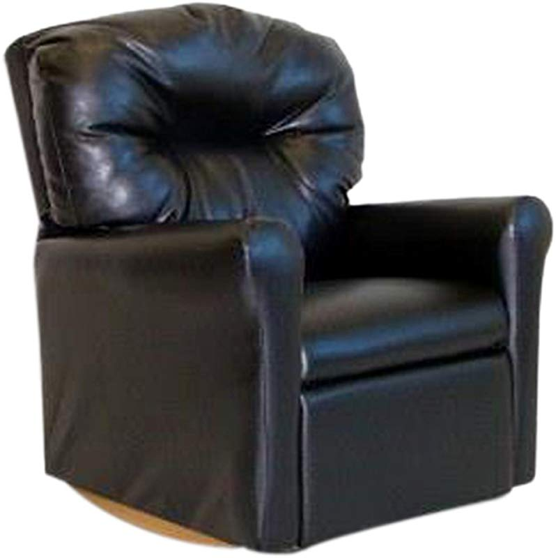 Dozydotes Contemporary Child Rocker Recliner Chair Black Leather Like
