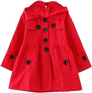 Girl's Hooded Trench Coat Jacket Dress Windbreaker Outwear