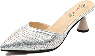 BY0NE Women's Heeled Slides Sandals Mules Sexy Kitten Heels Pointy Toe Slip on Pumps Dress Shoes