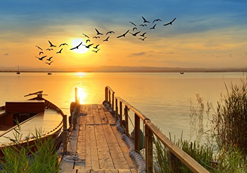 XXL Poster 100 x 70cm (S-849) Steg am Meer mit Boot und Vögeln bei Sonnenschein (Lieferung gerollt!)