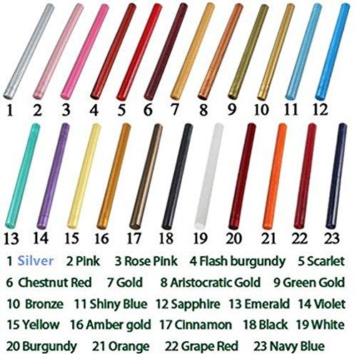 12pcs 23colores vintage Lacre Pistola de pegamento para sellos de sellado con cera Art invitaciones de boda Tarjetas de regalo