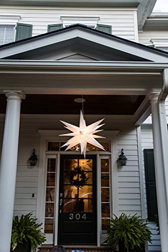 Elf Logic - 30' Large White Moravian Star Hanging Outdoor Christmas Star Light, Holiday Decoration, Porch Light, 3D Fixture, Advent Star (30 Inch - Easy Assembly)