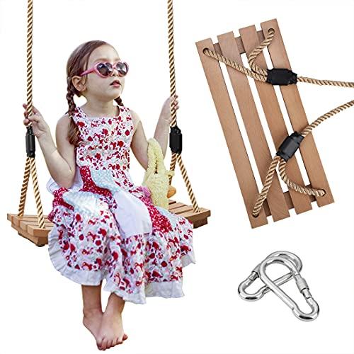 Columpios de madera, balanceo de madera de arco, asiento colgante para adultos y niños, silla de columpio para interiores y exteriores, jardín de jardín de juego (dorado)