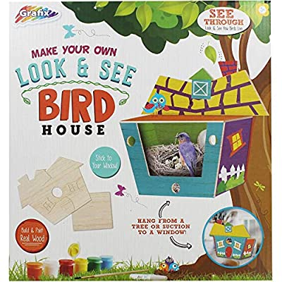 Build & Paint Your Own Wooden Bird House with Secret View by Grafix