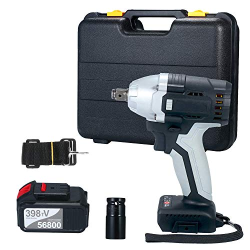 Beautiful happy Brushless Impact Wrench Funien Cordless Electric Impact Wrench with 1/2in Chuck 980 Torque 2pcs 4.0A Battery with Driver Impact Sockets (Size : UK 1PC Battery)