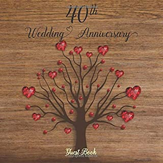 40th Wedding Anniversary Guest Book: Celebrating 40 Year of Happy Marriage & Memories, Party Guest Book Sign in for Family and Friends to Write in ... and Comments Wood and Heart Tree Design