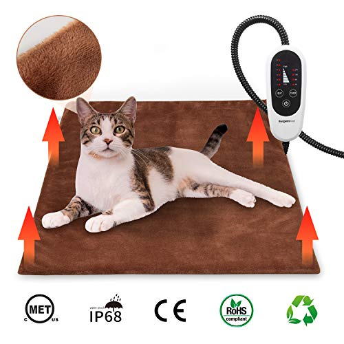 BurgeonNest Pet Heating Pad for Dogs Cats with Timer, 28' x 16' / 18' x 16' Upgraded Electric Heated Dog Cat Pad Temperature Adjustable Pet Bed Warmer Blanket Mat Auto Power-Off