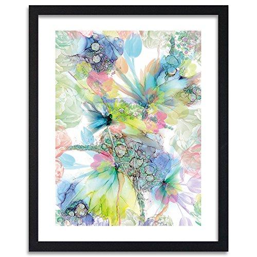 Feeby - Tableau encadré - Tableau Mural - Décoration Murale Image Imprimée - Tableau Déco - 1 Partie - 40x60 cm - Bloomnjazz - Abstraction des Couleurs Bleu Vert Rose