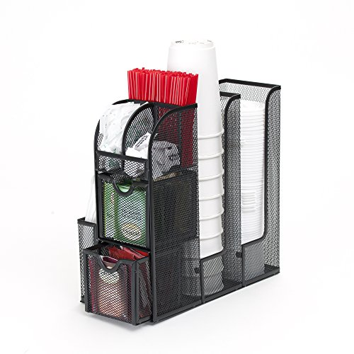 Mind Reader Condiment Caddy Organizer Metal, Black Mesh