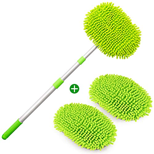 """PGFUN 2 in 1 Microfiber Car Wash Mop Mitt Cleaning Brush Kit with 44.5"""" Extensible Aluminum Alloy Handle and 2 × Mop Heads for Car,Truck,RV and Trailer"""