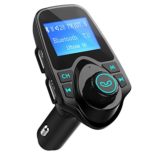 OMORC Bluetooth FM Transmitter Radio Adapter für iPhone Android-Schwarz