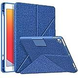 MoKo Funda Compatible con iPad 8ª Gen 2020/7ª Gen 2019, Orgami Estuche Cubierta de Pie con Soporte de Pencil y Carcasa Trasera de TPU,Múltiples Ángulos de Visión Funda para iPad 10.2/Air 3,Denim Azul