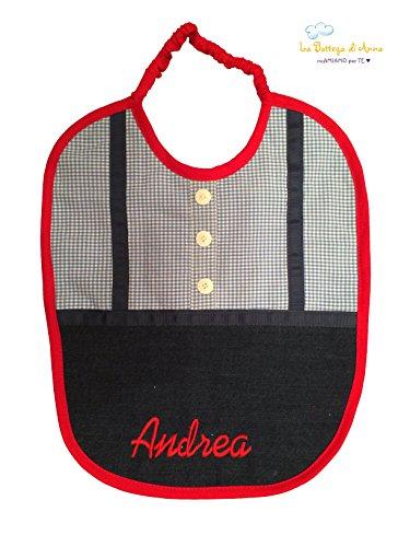Lätzchen in Bluse mit Knöpfen und personalisierten Hosenträgern mit Namen - Andrea - Bambino - Maße: ca. 30 x 38 cm