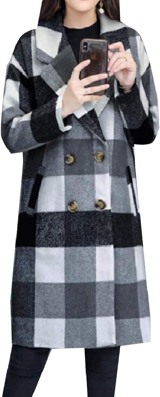 Mfasica Women Woolen TrimFit Double Button Lapel Plaid Jacket Overcoat