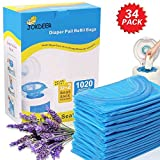 Diaper Pail Refill Bags 1020 Counts 34 Bags Fully Compatible with Arm&Hammer Disposal Syst...