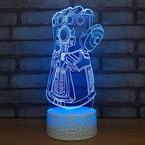 SXMXO Thanos Infinity Gauntlet Avengers Gants de Guerre Infinity 3D Veilleuses LED Changement de lumière 3D Nouveauté Lumière Creative Desk Lamp Drop Ship,7color+remotecontro