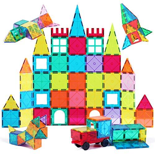 Jasonwell 65 PCS Magnetic Tiles Building Blocks Set for Boys Girls Preschool Educational Construction Kit Magnet Stacking Toys for Kids Toddlers...