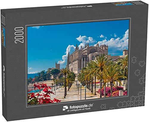 Puzzle 2000 Teile Landschaft mit Kathedrale La Seu in Palma de Mallorca Inseln, Spanien - Klassische Puzzle, 1000 / 200 / 2000 Teile, edle Motiv-Schachtel, Fotopuzzle-Kollektion 'Kirche'