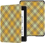 Cubierta de Tela Kindle Paperwhite Resistente al Agua (10a generación, versión 2018), Verduras Color Check Plaid Fabric Texture Vector Tablet Case