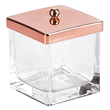 InterDesign Casilla Makeup and Cosmetic Storage Canister Container with Lid for Bathroom Vanity or Countertop – Clear/Rose Gold