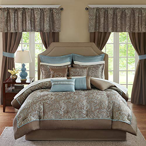 """Madison Park Essentials Brystol 24 Piece Room in a Bag Faux Silk Comforter Jacquard Paisley Design Matching Curtains Down Alternative Hypoallergenic All Season Bedding-Set, Cal King(104""""x92""""), Blue"""