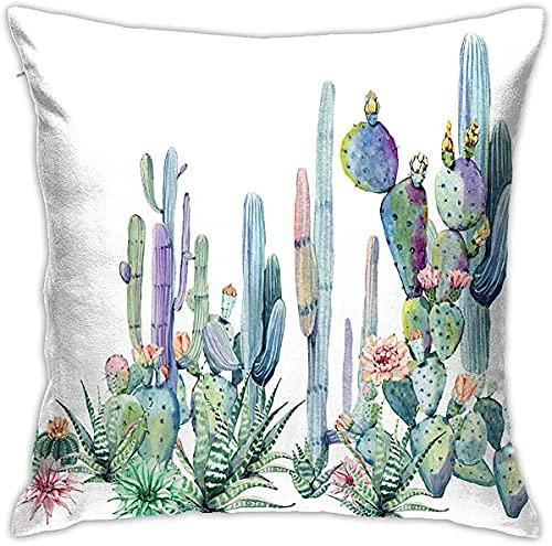 QUEMIN Cactus Decorativa Funda de Almohada Planta Flor Acuarela Pintura Funda de Almohada Tiro Funda de cojín Fundas de Almohada cuadradas para Coche sofá decoración del hogar 18 x 18 Pulgadas