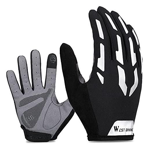 Cycling Gloves for Men, Touch Screen Gloves Men, Mountain Bike Gloves Mens, Reflection Full Finger/Fingerless Gloves, Gel Padded Anti-slip Shock-absorbing, MTB Sports Short Riding Gloves
