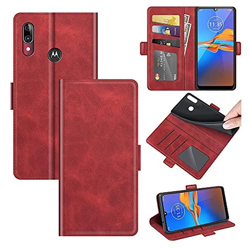 AKC Handyhülle Kompatibel mit Motorola Moto E6 Plus Hülle Fallschutz Handy-Ständer-Leder Flip Etui Handytasche Cover Echtleder Brieftasche-Rot