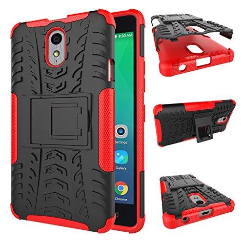 TiHen Handyhülle für Lenovo Vibe P1M Hülle, 360 Grad Ganzkörper Schutzhülle + Panzerglas Schutzfolie 2 Stück Stoßfest zhülle Handys Tasche Bumper Hülle Cover Skin mit Ständer -rot