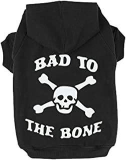 EXPAWLORER Bad to The Bone Printed Skull Cat Fleece Sweatshirt Dog Hoodies