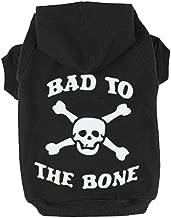 EXPAWLORER Bad to The Bone Printed Skull Cat Fleece Sweatshirt Dog Hoodies