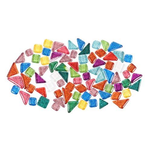 EXCEART 1 Paquete de Azulejos de Mosaico de Colores Surtidos Azulejos de Mosaico de Cristal de Forma Irregular Brillo Piedras de Cristal a Granel Mosaico de Cristal Brillante para