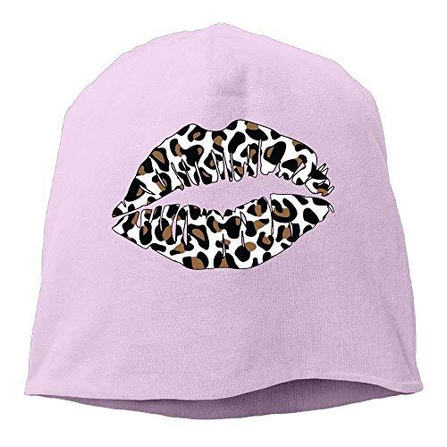 VTXINS Funny Fashion Beanie Caps Luipaard Print Kus Lippen Winter Beanie Skull Cap Warm Knit Ski Slouchy Hoed Duurzaam
